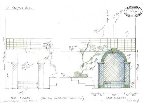 St Johns Wood garden design sketch proposals