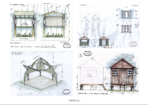 a selection of garden buildings designed by mark lutyens