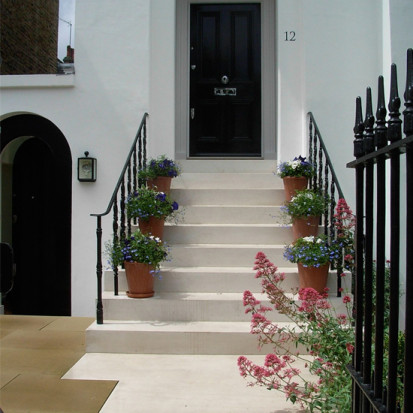 portland stone steps with planted pots london