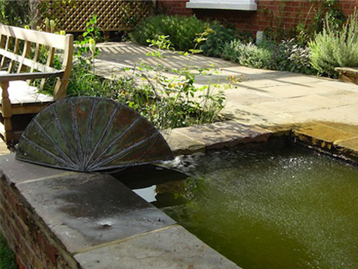 york stone metal water feature