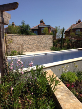 Swimming pool, pink oleanders & Purbeck wall