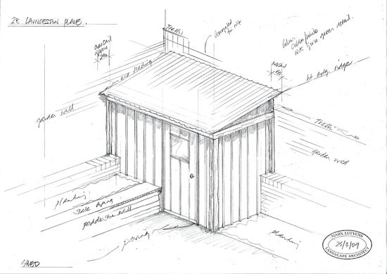timber garden shed sketch design london