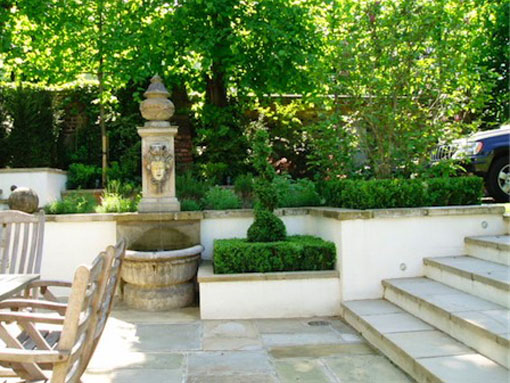 St John's wood water fountain and garden steps