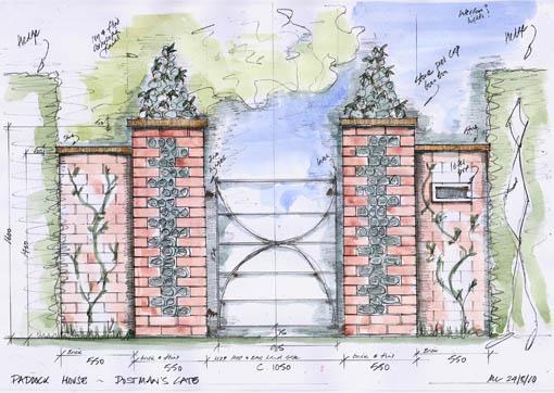 brick pillars with metal gate