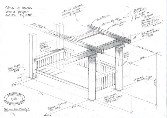 sketch design for timber pergola