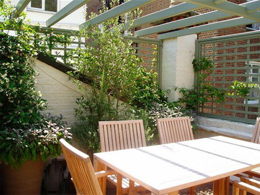 table and chairs on London Roof garden