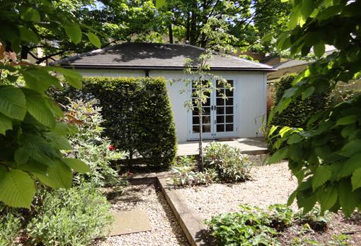 gravel garden with studio office